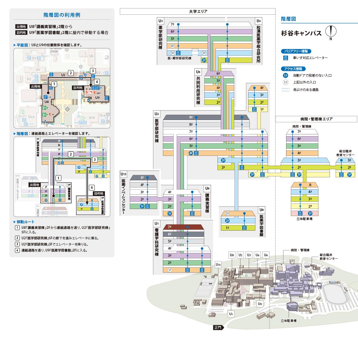 杉谷キャンパス階層図 アクセシビリティ・マップ